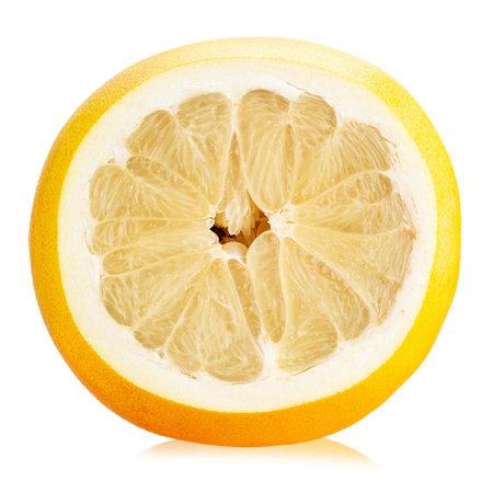 Fresh half pomelo citrus fruit isolated on white background.