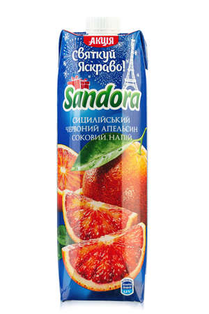 Ukraine, Kyiv - December 14.2020: Sandora brand sicilian red orange juice packaging white background. Insulated packaging for catalog. File contains clipping path. 報道画像