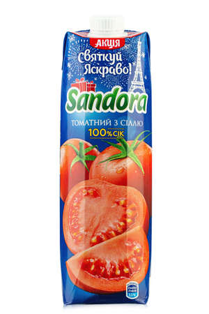 Ukraine, Kyiv - December 14.2020: Sandora brand tomato juice packaging white background. Insulated packaging for catalog. File contains clipping path. 報道画像