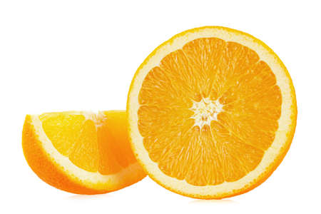 Orange fruit with orange slices isolated on white background. File contains clipping path.