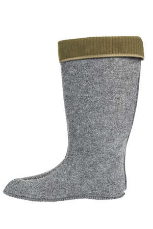 Warm sock. Insulated insert for winter boots. File contains clipping path. 写真素材