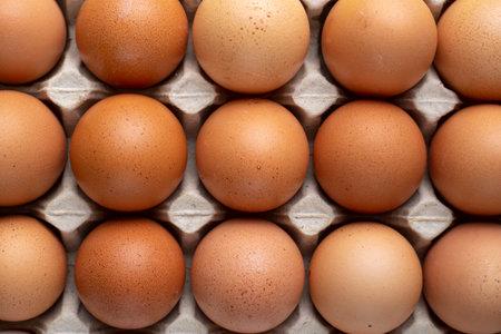 Nice big rural fresh eggs in cardboard egg box holder. Top view.