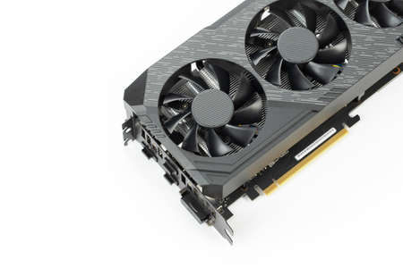 Game graphics card isolated on white background. Computer part.