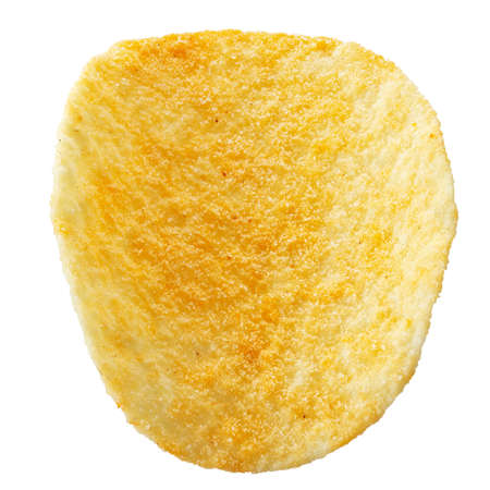 Delicious potato chips, isolated on white background. High resolution photo. Full depth of field. File contains clipping path.