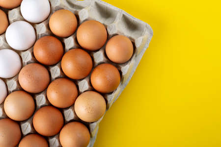 Nice big rural fresh eggs in cardboard egg box holder with colorful yellow background. Space for text.