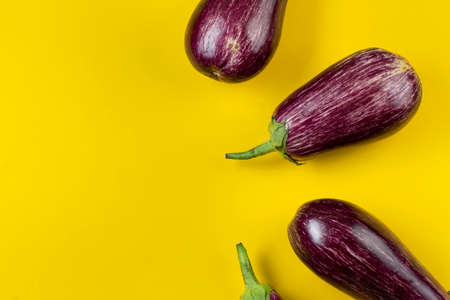 Raw purple eggplant on a yellow background. Fresh vegetables. Space for text. Top view.