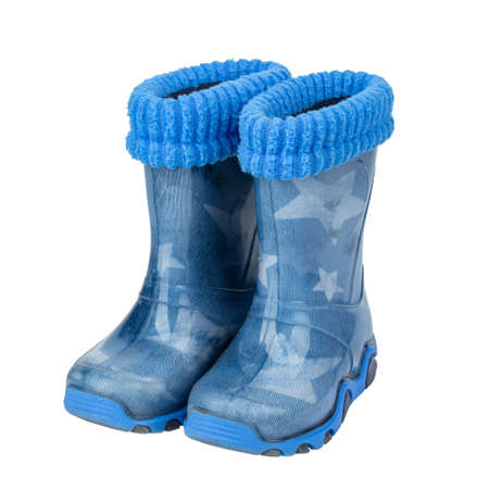 Childrens rubber boots blue сolour isolated white background. File contains clipping path.