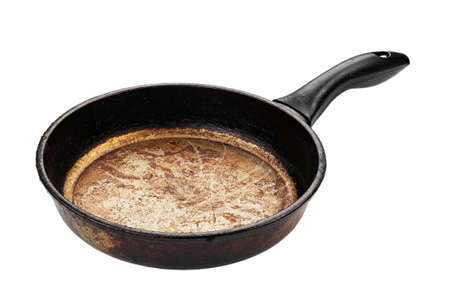 Dirty old frying pan on white background.