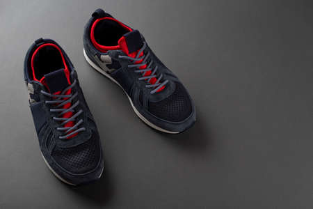 Pair of insulated trendy sneakers on a gray background. Fashion footwear. 写真素材