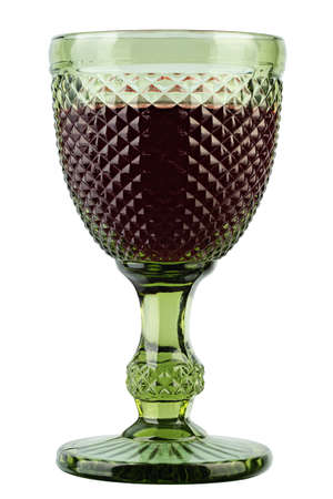 Wine glass isolated. Green glass with red wine isolated on white background. Alcoholic beverage. 写真素材