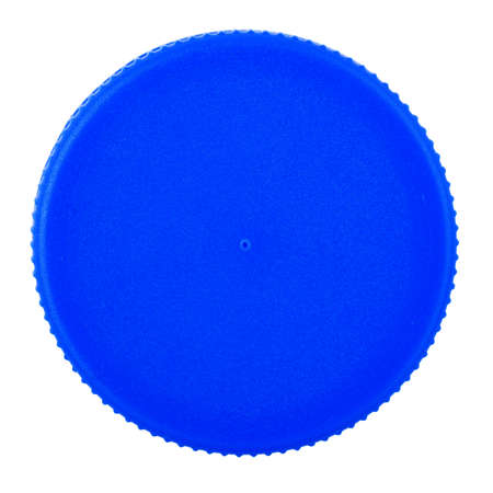 Plastic bottle cap isolated on white background. Of blue color. File contains clip path.