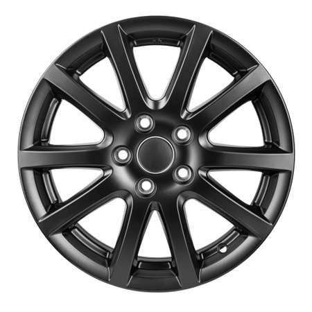 Car Wheel discs. Car wheel Rim black color matt isolated on white background. File contains clipping path.