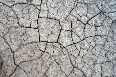 Top view of dried ground covered with cracks. Natural dry soil texture, theme arid area. Background for design. Concept image of global warming. Close-up Banco de Imagens - 119761744