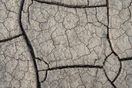 Top view dry soil cracking. Natural dry soil texture, theme arid area. Background for design. Concept image of global warming. Close-up