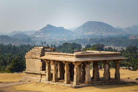 Beautiful view of the amazing Hampi's ruins. Hampi, also referred to as the Group of Monuments at Hampi, located in east-central Karnataka, India.