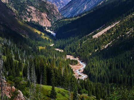 Mountain landscape. Tien Shan. The valley of the river Left Talgar. Alma-Ata's region. Kazakhstan