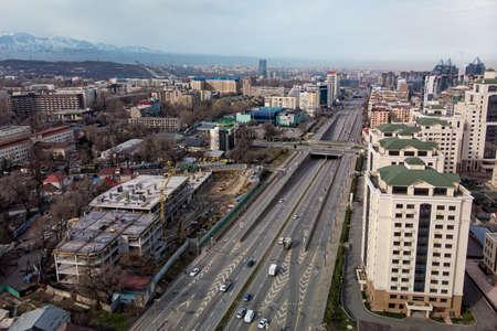 Almaty, Kazakhstan - MARCH 26, 2020: City during quarantine. Low car traffic on the central highway, Al-Farabi Avenue
