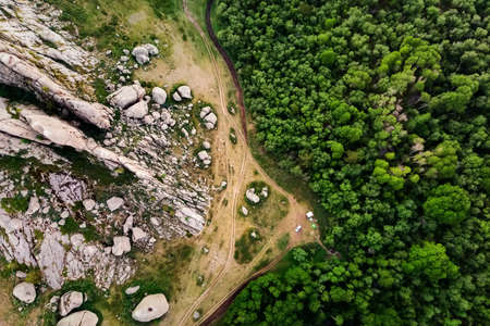Summer camping in nature. Rocks and forest. Bird's-eye view. Mountains of Kent. Kazakhstan Imagens