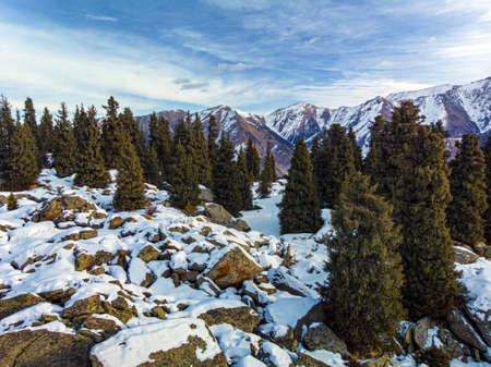 Beautiful morning in the winter mountains. Winter mountain landscape. Kazakhstan