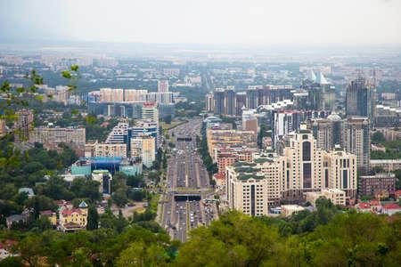 Almaty, Kazakhstan - JUNE 26, 2017: City summer landscape. Central Highway, Al-Farabi Avenue