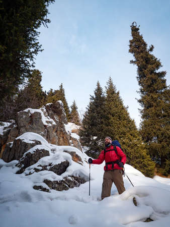 Satisfied bearded tourist in a red jacket walks in the winter mountain forest. Pastime on a beautiful winter sunny day