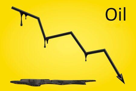 Crude oil price fall chart. World oil, fuel crisis.