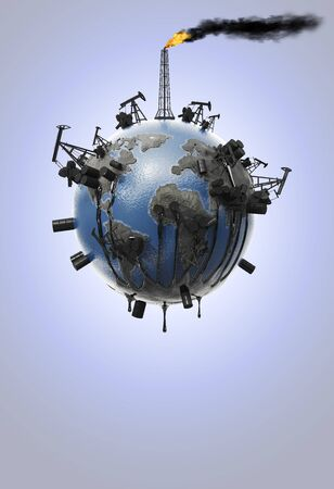 The concept of planet earth pollution with the oil industry from which oil flows and pollutes the environment, pipes with smoke and a drop of oil. Ecological catastrophy. Natural resources. 3D rendering.