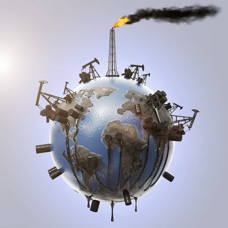 The concept of planet earth pollution with the oil industry from which oil flows and pollutes the environment, pipes with smoke and a drop of oil. Ecological catastrophy. Natural resources. 3D rendering. Archivio Fotografico