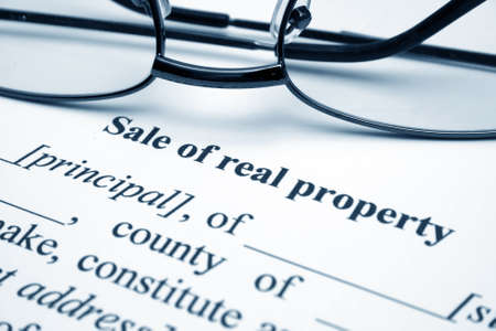 titles: Sale of real property Stock Photo