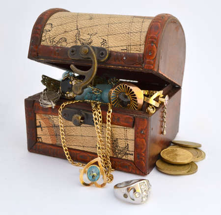 old container: Treasure chest Stock Photo