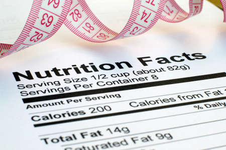 Nutrition facts and measure tape  photo
