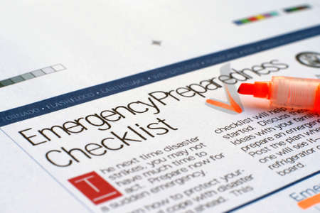 cal: Emergency checklist Stock Photo