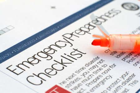 emergency sign: Emergency checklist Stock Photo