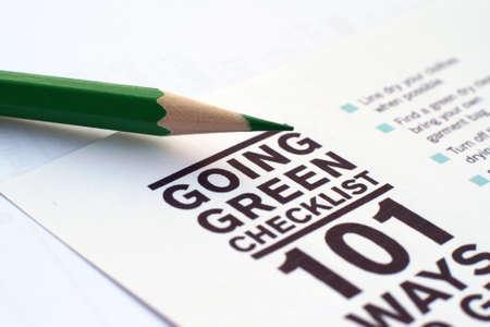 Going green checklist Stock Photo - 12149899