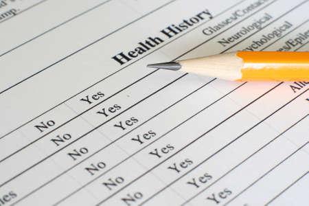 Health history form  photo