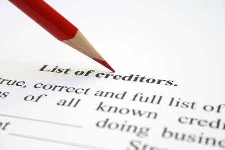 chartered accountant: Creditor list Stock Photo