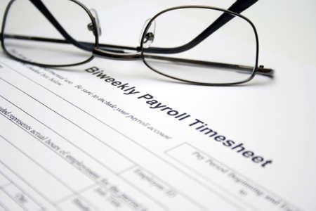 customer records: Biweekly payroll timesheet Stock Photo