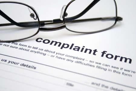 complain: Complaint form Stock Photo