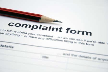 complaints: Complaint form Stock Photo