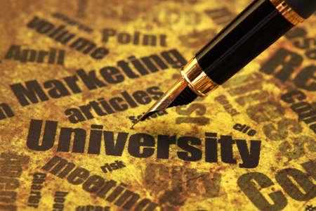 university text: Pen on university text
