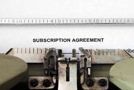 subscribing: Subscription agreement Stock Photo