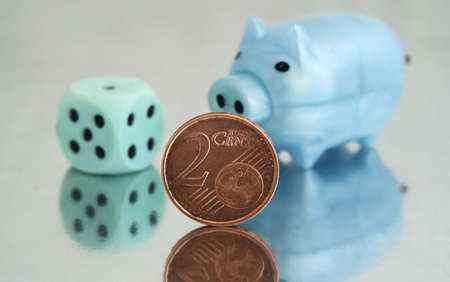 Piggy bank and 2 cents photo