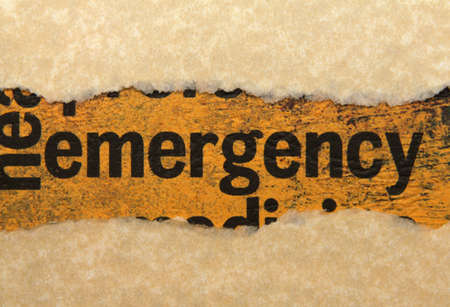 Emergency torn paper Stock Photo - 17432034