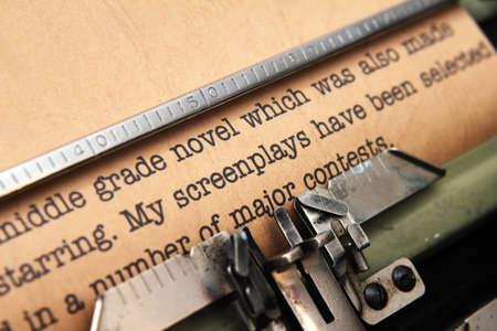 screenplay: Screenplay and typewriter Stock Photo