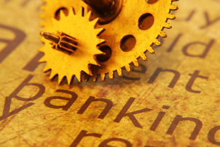 Old gear on Banking text Stock Photo - 18389214