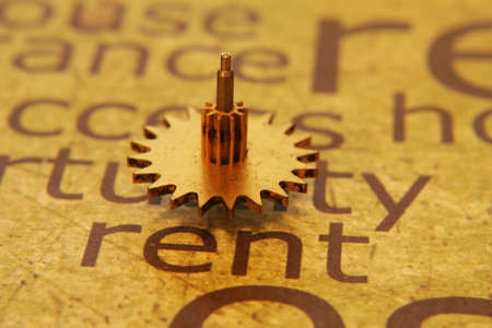 partment: Old gear on rent text concept