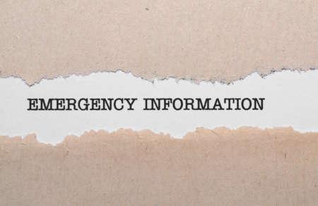 Emergency information photo
