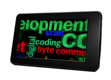 Coding and byte on pc tablet Stock Photo - 19433923