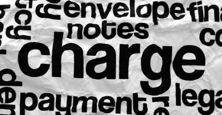 Charge text on crinkled paper photo