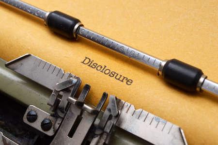disclosure: DIsclosure form on typewriter